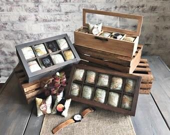 Watch Box - 8 Compartment - Watch Storage -Watch Organizer - Map - Compartment Watch Box - Gifts for Men - Gifts for Women
