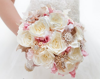 READY TO SHIP! Bridal Bouquet Fabric Brooch Bouquet Wedding Bouquet Vintage Wedding Vintage Bouquet Shabby Chic Bouquet Rustic Bouquet