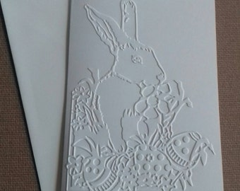 Set of 5 Easter Bunny Embossed White Blank Greeting Cards with Envelopes