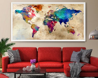 Charmant Large Wall Art World Map, Colorful Wall Art, Watercolor Push Pin World Map  Print
