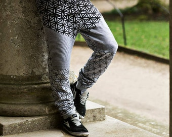 Grey Flower of Life Joggers - Organic Cotton Sacred Geometry legwear. Tattoo and Festival inspired.