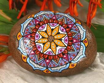 Painted Stone Mandala On Oval River Stone for Meditation Inspiration Serenity