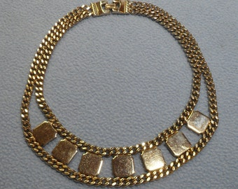 Beautiful Light Goldtone Choker Necklace~ Heavy Chains with Polished Squares- So Unusual and Interesting!!