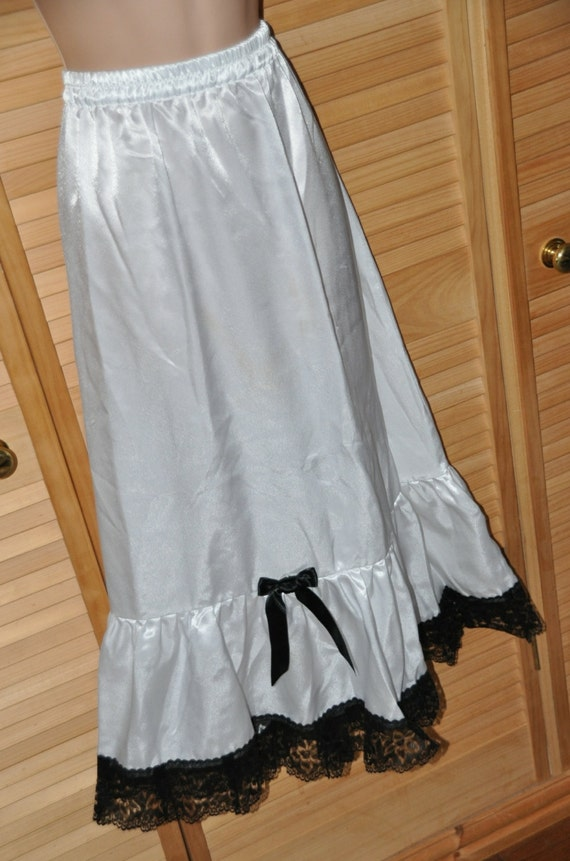 Tiered satin petticoat / half slip, flowing silky satin for dressing up fun, lacy peeks, Sissy Lingerie