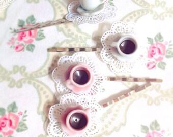 Bobby Pin Hair Clip Coffee Coffee Cup Cup ~ Handmade Kawaii Cute Ceramic Hair Barrette Coffee Time Miniature White Pink Cup