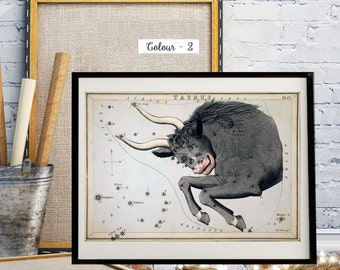 Taurus, Urania's Mirror or a View of the Heavens, Astrology, Astronomy, 18th and 19th century Map Prints