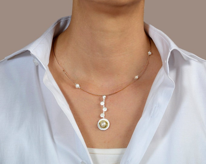 Featured listing image: Sterling silver pendant necklace, circle pendant necklace, pearl necklace, geometric necklace, minimal choker, elegant jewelry
