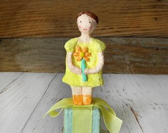 Paper Doll Sculpture, Papier Mache Doll, Paper Mache Art Doll, Paper Mache Figure, Girl Figure, Whimsical Figure, Kids Room Decor, Kids gift