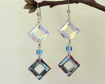 Swarovski Crystal Earrings, Sterling Silver Earrings, Silver Dangle Earrings, Crystal Earrings, Crystal Dangle Earrings, Swarovski Earrings