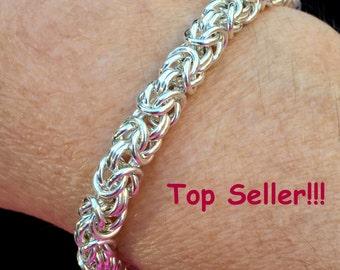 Sterling Silver Byzantine Bracelet, Sterling Silver Woven Bracelet, Sterling Silver Link Bracelet, Sterling Silver Bracelet, Byzantine