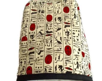 Cafetière cosy in decorative hieroglyphic fabric
