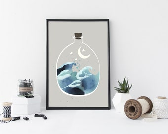 Japanese waves art print, watercolor wall art, ocean, nature poster, minimal simple wall art, home decor, modern, nursery decor, blue, water