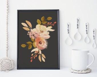 Watercolor flowers wall art, botanical art print, floral poster, nature, leaf art, gift, vintage illustration, home decor, vintage, peach,