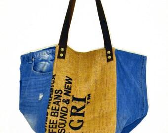 """Cabas """"Sigri"""", cabas bag, burlap, tote bag ,100% recycle bag, coffee bag, belt,jute, ecofriendly,"""