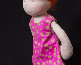 Waldorf doll, all natural cloth doll, girl doll, brushable red hair,  CPSC compliant