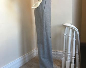 Heather Grey Vintage Wool High Waist Trousers