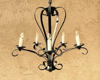 Black Wrought Iron Chandelier, Vintage Spanish Revival Scroll Chandelier, Scrollwork Lighting