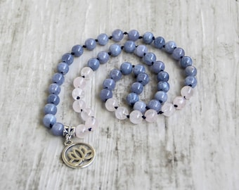 Women necklace lotus cord knot necklace blue pink necklace beaded yoga gift necklace mala boho protection necklace for her gift mother