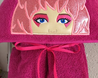 Jem Hooded Towel - Jem and the Holograms - Retro Jem - Rockstar Hooded Towel - Hooded Towel - RedRockCraftsWy
