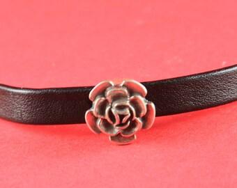 3/9 MADE IN EUROPE zamak flower slider for half round cord,  zamak rose slider, rose slider for 6mm round cord (76779/10) Qty1