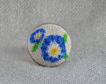 Blue flowers ring Embroidered jewelry Blue flowers jewelry Handmade ring Gift for her Round ring Cross stitch Blue ring Women gift