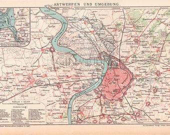 Antique European Map of Antwerp, Belgium