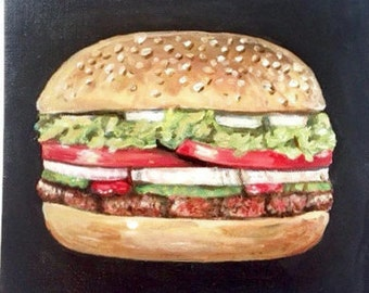 Hamburger painting. Food painting. Chef gift. Foodie gift. Cooks gift. kitchen wall art. Resturant art. Pop art. small acrylic painting.