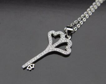 Silver Key Charm Necklace Silver Key Charm Key Pendant Personalized Necklace Customized Jewelry