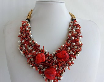 Statement necklace, Stunning necklace, Coral necklace, Strass necklace, Olivia necklace, Embelishment Collar necklace with Swarovski IV195