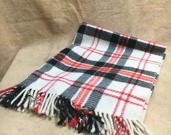 Plaid Wool Blanket Red Black White Vintage Littlefield Throw Picnic Stadium Festival