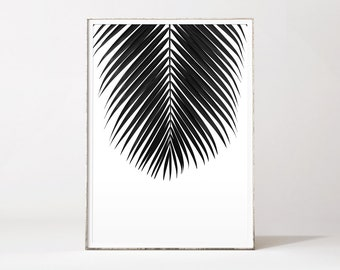 Palm print, palm leaf, palm tree, black palm leaf, affiche palmier, leaf print, black and white botanical prints, tropical wall art, palm