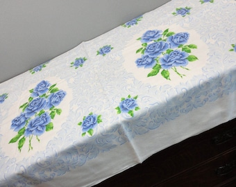 Vintage Blue Rose Medallion Cotton Rectangular Tablecloth - Blue Roses, Green leaves and Blue Swirled Background - 62 x 52