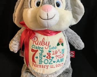 Birth Announcement Stuffed Animal, Baby Announcement Plush Animal, Personalized Stuffed Animal, Baby Gift, Monogrammed Gift, Cubbie, Bunny