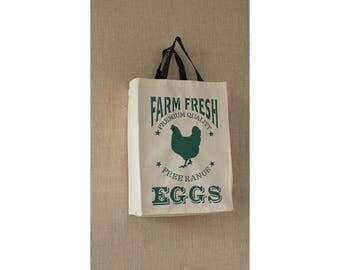 Reusable Grocery Bag, Fresh Eggs, Country Decor, Eco Friendly, Canvas Bag, Farmers Market Bag, Canvas Bag
