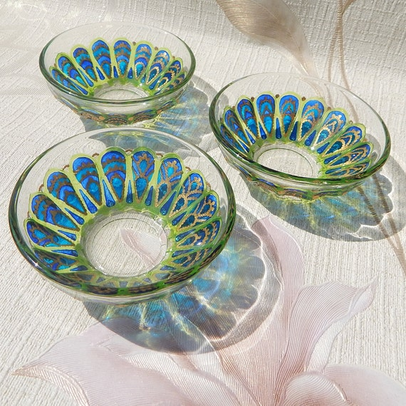 Small Glass Bowl Unusual Dinnerware Stained Glass Candle