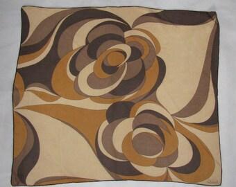 Silk SCARF Ostinelli retro brown scarf VINTAGE 1970s pattern scarf shawl