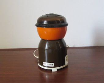 PEUGEOT Fréres -  Electric Coffee or Spices Grinder with an orange and dark brown metal lacquered body - Made in France - 1970s