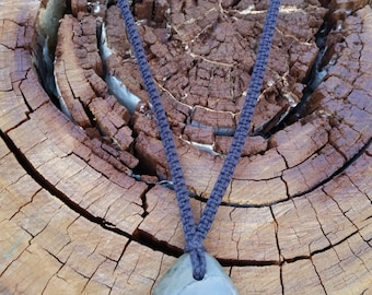 Fossilised Pendant Macrame Necklace