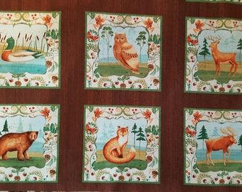 Wild Woods Animal Panel, 100% QSQ Cotton ~ Windham Fabrics, Sold By the Panel, 1 of 3 Coordinating Fabrics