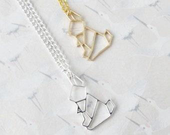 Collier lapin origami argenté ou plaqué or, collier lapin , bijou lapin, pendentif lapin, cadeau pour elle