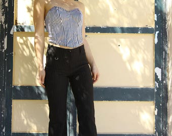 Vintage black striped stretch pants.size L