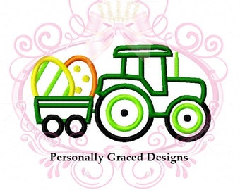 Eater Egg Tractor Wagon Holiday Machine Applique Embroidery Design 4in, 5in, 6in, Instant Download, Farm Design, Tractor Applique Design