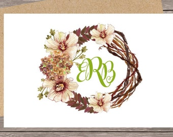 Custom note card, personalized stationary, note cards ,custom note cards, folded note cards, monogram note cards,