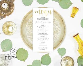Gold wedding menu, Wedding menu printable, Rustic wedding menu, Printable wedding menu design, Wedding stationery, Wedding reception decor