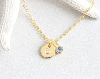 Tiny Gold Dot initial hand Stamped Disc Birthstone Necklace, Bridesmaids Letter Necklace Small Minimalist Necklace Jewelry