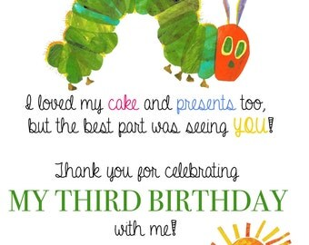 Very Hungry Caterpillar Thank You /Very Hungry Caterpillar Birthday/Very Hungry Caterpillar Birthday Thank You Card /Hungry Caterpillar Card