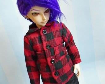 Black Red BJD Plaid Shirt - Checked Bjd Shirt - Minifee Hooded Shirt - Bjd Sd Clothes - Bjd Clothes Msd - Yosd Bjd Clothes - Slim Msd Jacket