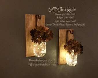 Set of 2 Lighted Sconces, Hanging Sconces, Mason Jar Sconces, Rustic Home Decor, Copper, Bronze, Lighted Mason Jars, Wall Sconce, Wall Decor