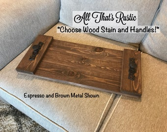 Serving Tray, Rustic Serving Tray, Wood Tray, Wooden Tray, Tray with Handles, Rustic Home Decor, Decorative Wood Tray, Farmhouse Decor, Gift