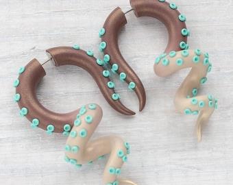 Tentacle Gauges, Octopus Earrings, Pocahontas Ear Gauges, Fake Plug, Fake Gauges, Ear Plug, Faux Gauges, Tentacle Earring, Disney Ears Moana